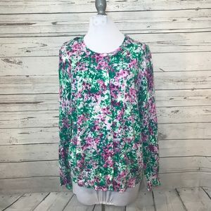 Lands end purple green Floral cardigan sweater